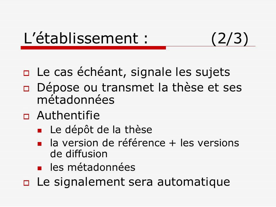 Létablissement : (2/3) Le cas échéant, signale les sujets Dépose ou transmet la thèse et ses métadonnées Authentifie Le dépôt de la thèse la version d