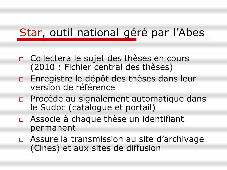 Star, outil national géré par lAbes Collectera le sujet des thèses en cours (2010 : Fichier central des thèses) Enregistre le dépôt des thèses dans le