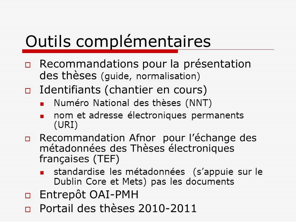 Outils complémentaires Recommandations pour la présentation des thèses (guide, normalisation) Identifiants (chantier en cours) Numéro National des thè