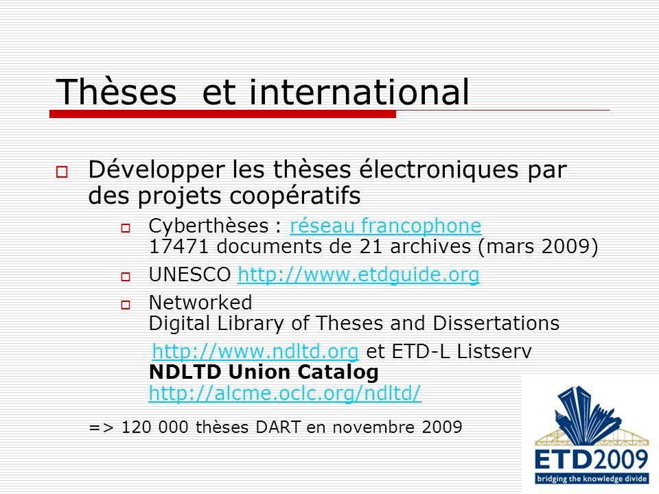 Thèses et international Développer les thèses électroniques par des projets coopératifs Cyberthèses : réseau francophone 17471 documents de 21 archive