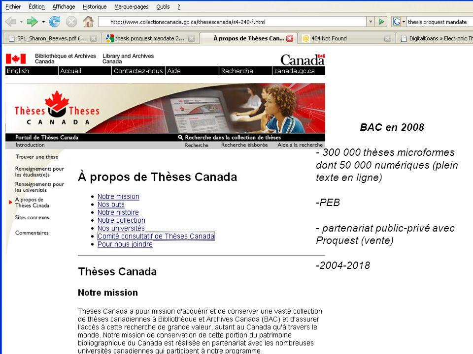 BAC en 2008 - 300 000 thèses microformes dont 50 000 numériques (plein texte en ligne) -PEB - partenariat public-privé avec Proquest (vente) -2004-201