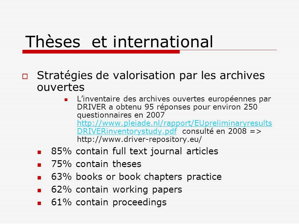 Thèses et international Stratégies de valorisation par les archives ouvertes Linventaire des archives ouvertes européennes par DRIVER a obtenu 95 répo