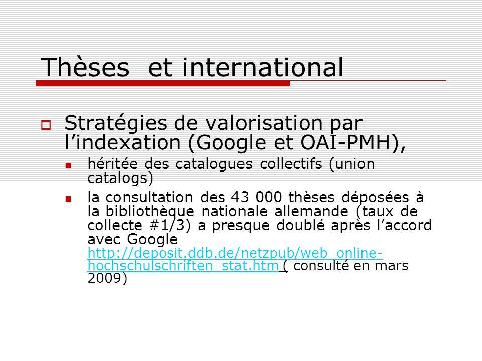 Thèses et international Stratégies de valorisation par lindexation (Google et OAI-PMH), héritée des catalogues collectifs (union catalogs) la consulta