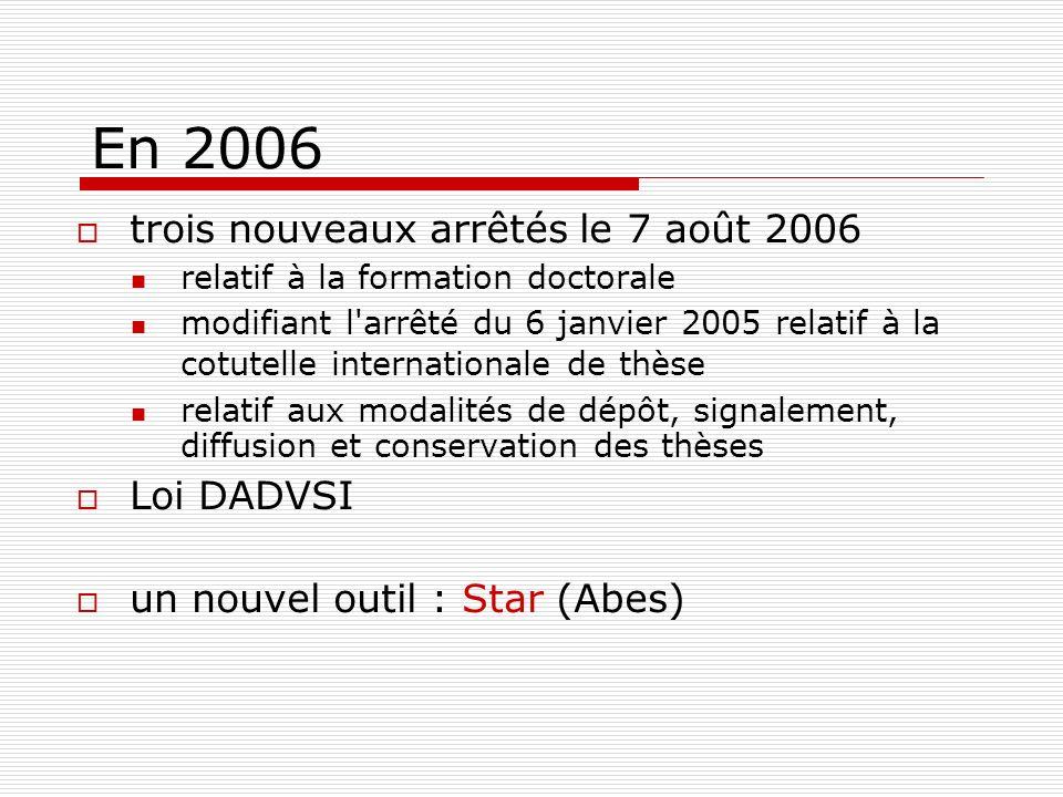 En 2006 trois nouveaux arrêtés le 7 août 2006 relatif à la formation doctorale modifiant l'arrêté du 6 janvier 2005 relatif à la cotutelle internation