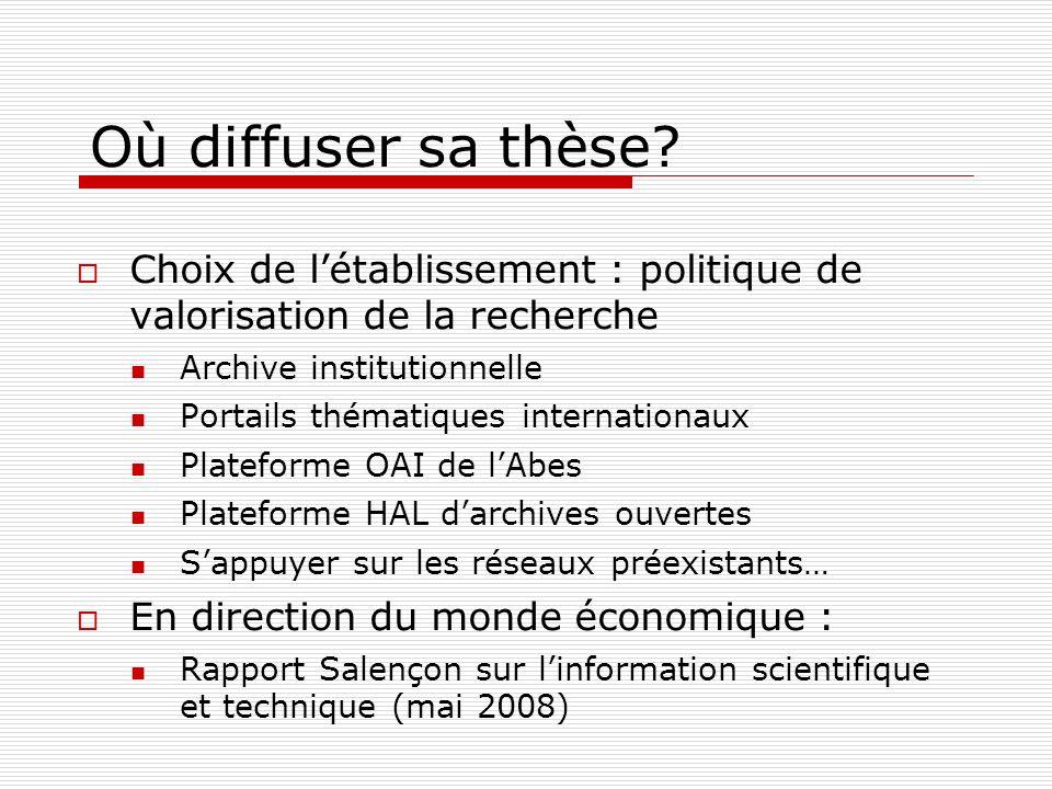 Où diffuser sa thèse? Choix de létablissement : politique de valorisation de la recherche Archive institutionnelle Portails thématiques internationaux