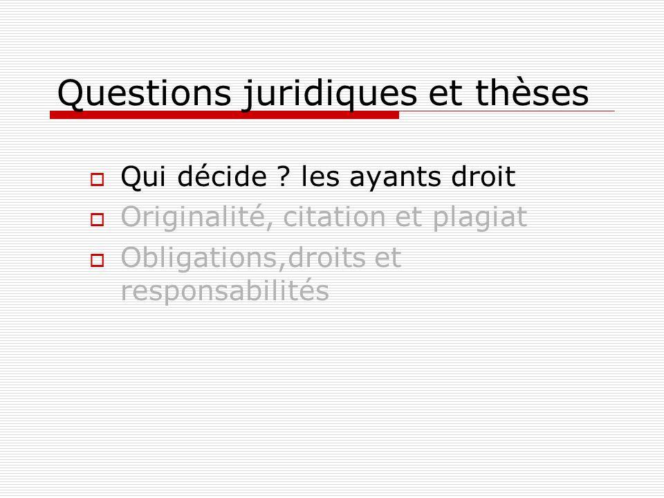 Questions juridiques et thèses Qui décide ? les ayants droit Originalité, citation et plagiat Obligations,droits et responsabilités