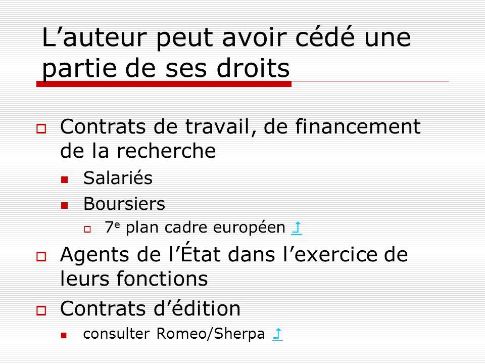Lauteur peut avoir cédé une partie de ses droits Contrats de travail, de financement de la recherche Salariés Boursiers 7 e plan cadre européen Agents