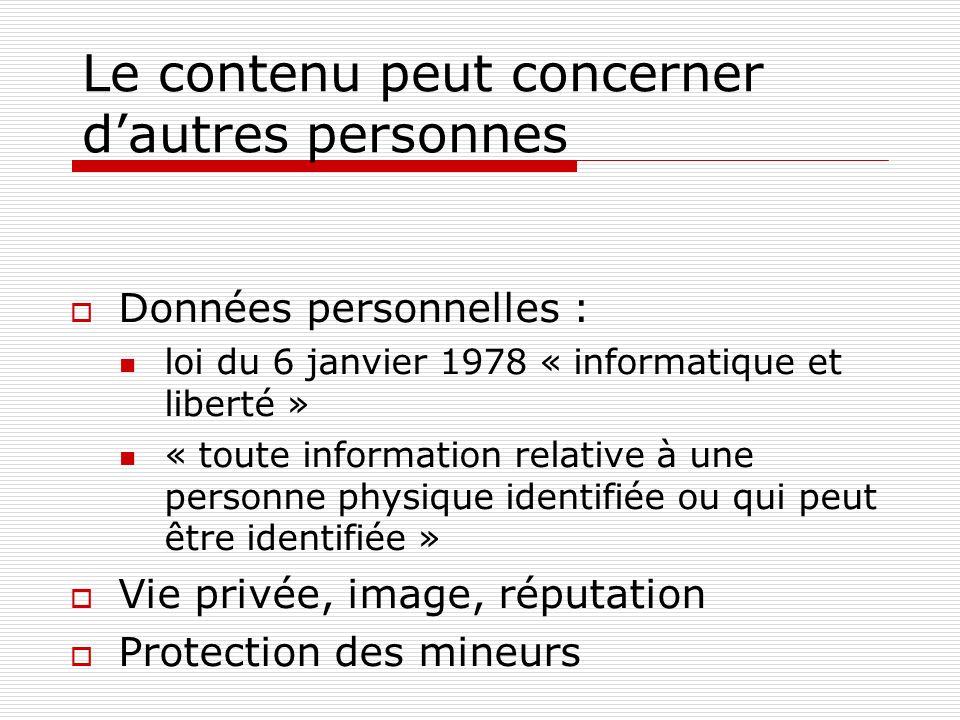 Le contenu peut concerner dautres personnes Données personnelles : loi du 6 janvier 1978 « informatique et liberté » « toute information relative à un
