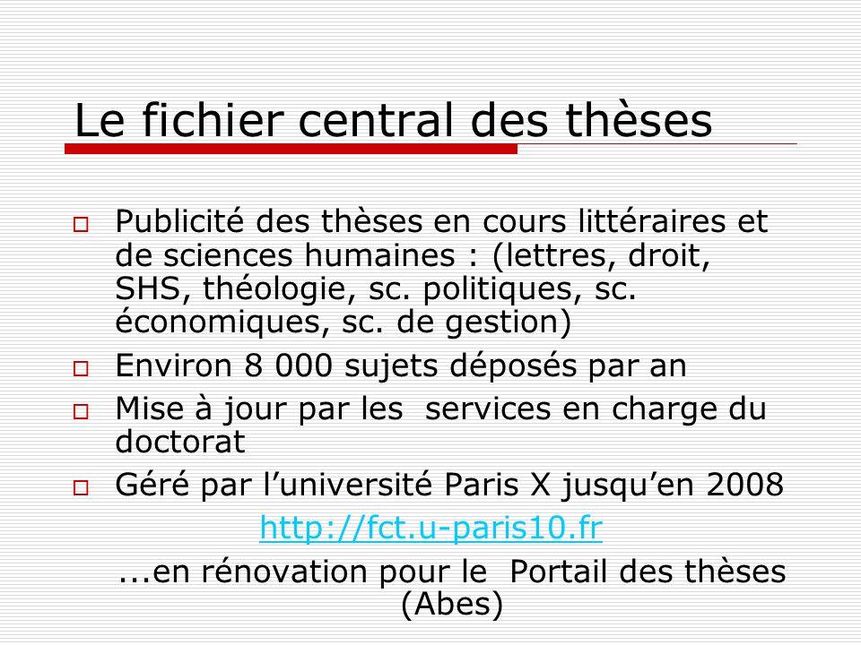 Le fichier central des thèses Publicité des thèses en cours littéraires et de sciences humaines : (lettres, droit, SHS, théologie, sc. politiques, sc.