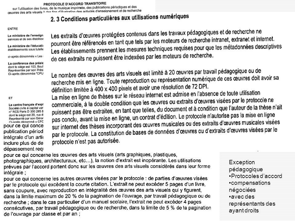 Exception pédagogique Protocoles daccord compensations négociées avec des représentants des ayant droits