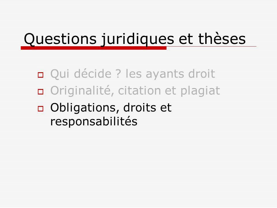 Questions juridiques et thèses Qui décide ? les ayants droit Originalité, citation et plagiat Obligations, droits et responsabilités