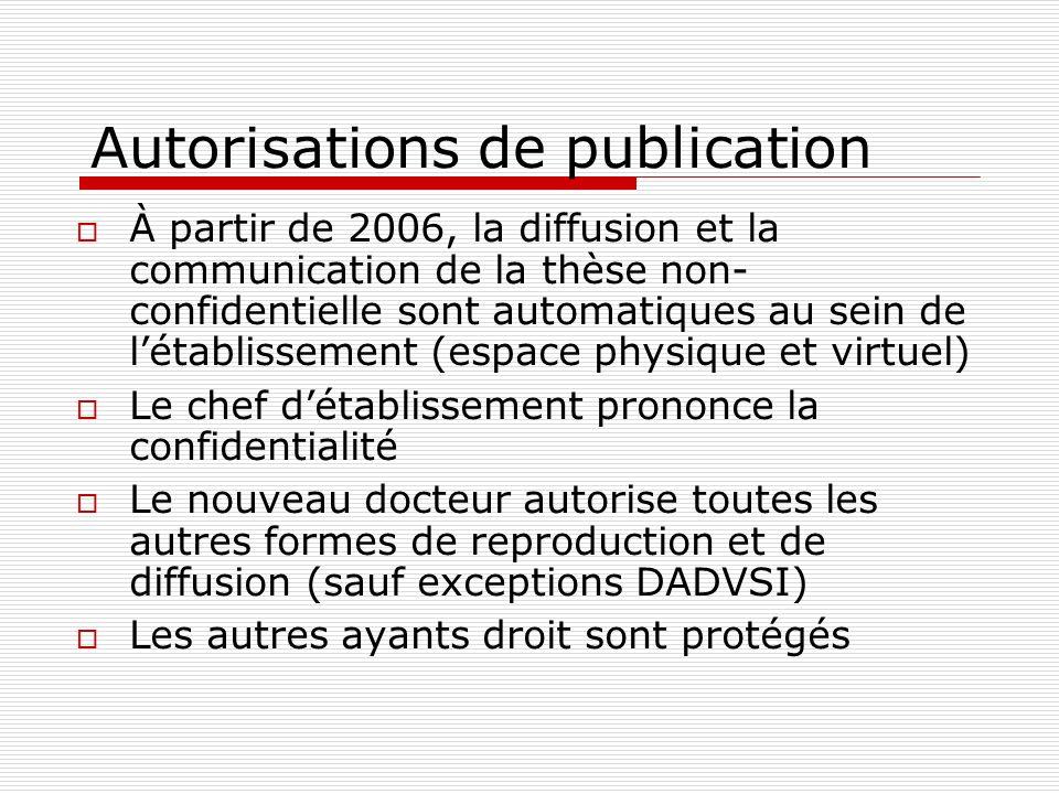Autorisations de publication À partir de 2006, la diffusion et la communication de la thèse non- confidentielle sont automatiques au sein de létabliss
