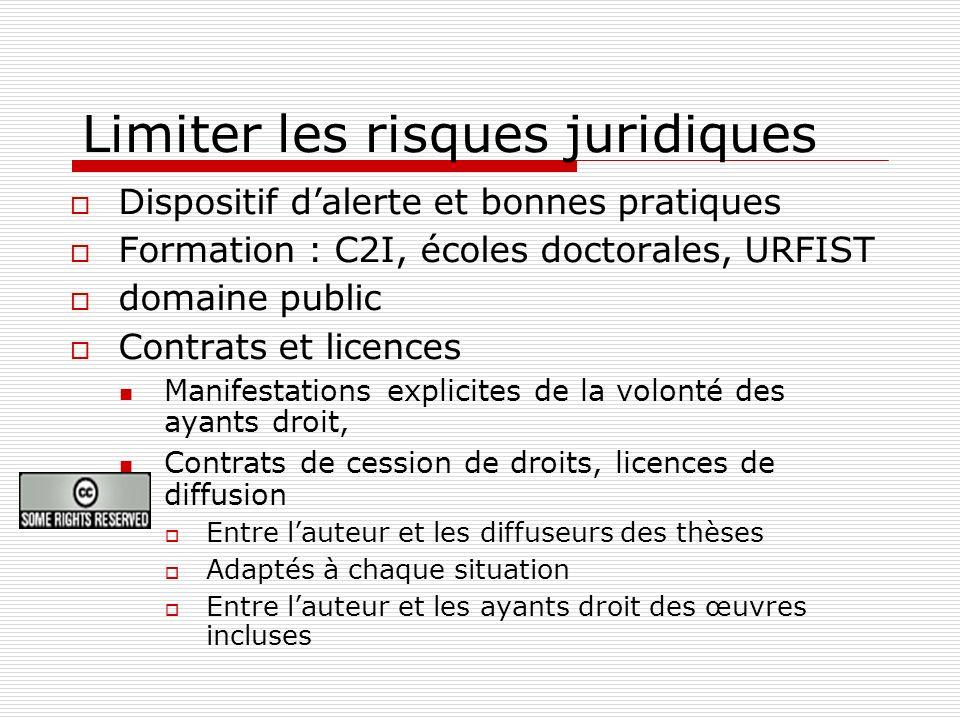 Limiter les risques juridiques Dispositif dalerte et bonnes pratiques Formation : C2I, écoles doctorales, URFIST domaine public Contrats et licences M