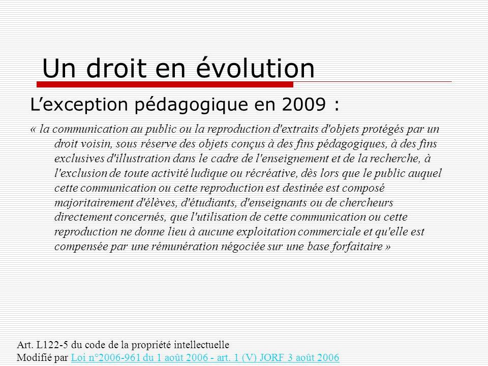 Un droit en évolution Lexception pédagogique en 2009 : « la communication au public ou la reproduction d'extraits d'objets protégés par un droit voisi