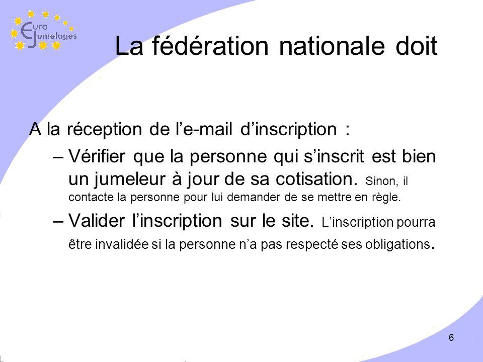 6 La fédération nationale doit A la réception de le-mail dinscription : –Vérifier que la personne qui sinscrit est bien un jumeleur à jour de sa cotisation.