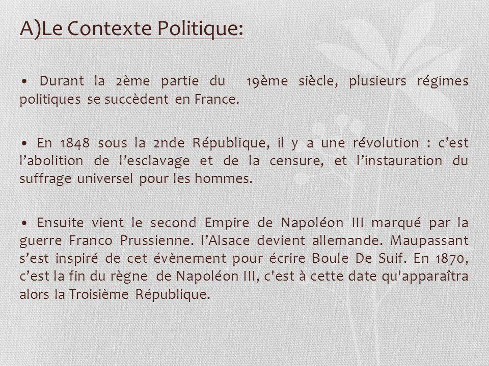 Durant la 2ème partie du 19ème siècle, plusieurs régimes politiques se succèdent en France. En 1848 sous la 2nde République, il y a une révolution : c