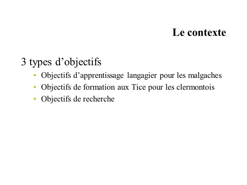 Le contexte 3 types dobjectifs Objectifs dapprentissage langagier pour les malgaches Objectifs de formation aux Tice pour les clermontois Objectifs de recherche