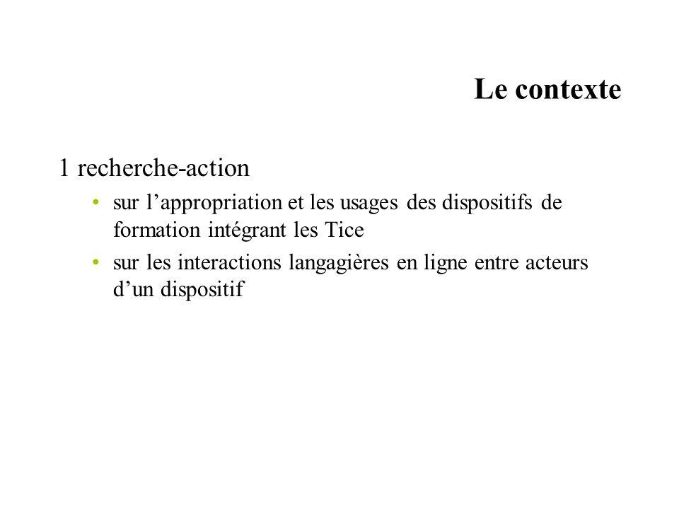 Le contexte 1 recherche-action sur lappropriation et les usages des dispositifs de formation intégrant les Tice sur les interactions langagières en ligne entre acteurs dun dispositif