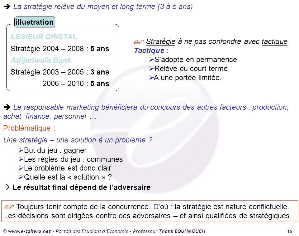© www.e-tahero.net - Portail des Etudiant dEconomie – Professeur Thami BOUHMOUCH 16 La stratégie relève du moyen et long terme (3 à 5 ans) LESIEUR CRISTAL Stratégie 2004 – 2008 : 5 ans Attijariwafa Bank Stratégie 2003 – 2005 : 3 ans 2006 – 2010 : 5 ans illustration Stratégie à ne pas confondre avec tactique Tactique : Sadopte en permanence Relève du court terme A une portée limitée.
