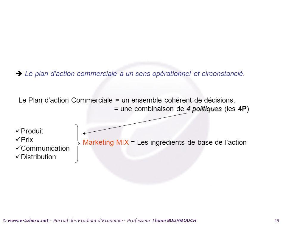 © www.e-tahero.net - Portail des Etudiant dEconomie – Professeur Thami BOUHMOUCH 19 Le plan daction commerciale a un sens opérationnel et circonstancié.