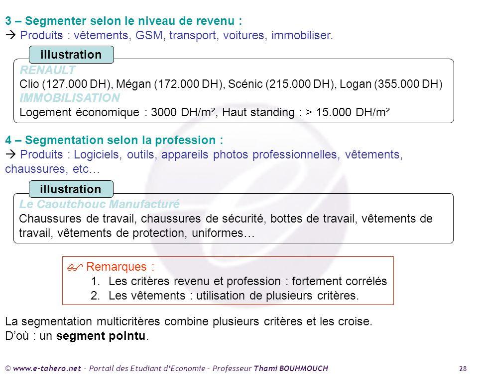 © www.e-tahero.net - Portail des Etudiant dEconomie – Professeur Thami BOUHMOUCH 28 3 – Segmenter selon le niveau de revenu : Produits : vêtements, GSM, transport, voitures, immobiliser.