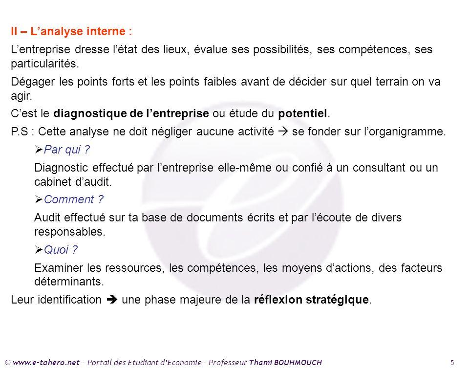 © www.e-tahero.net - Portail des Etudiant dEconomie – Professeur Thami BOUHMOUCH 5 II – Lanalyse interne : Lentreprise dresse létat des lieux, évalue