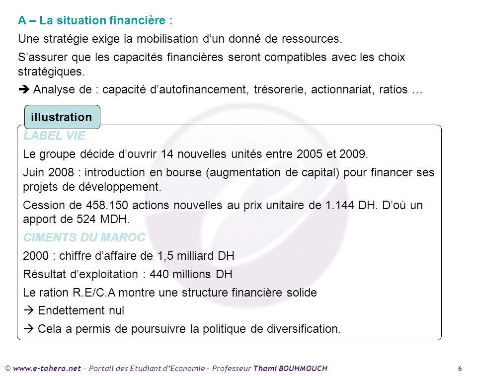© www.e-tahero.net - Portail des Etudiant dEconomie – Professeur Thami BOUHMOUCH 6 A – La situation financière : Une stratégie exige la mobilisation dun donné de ressources.