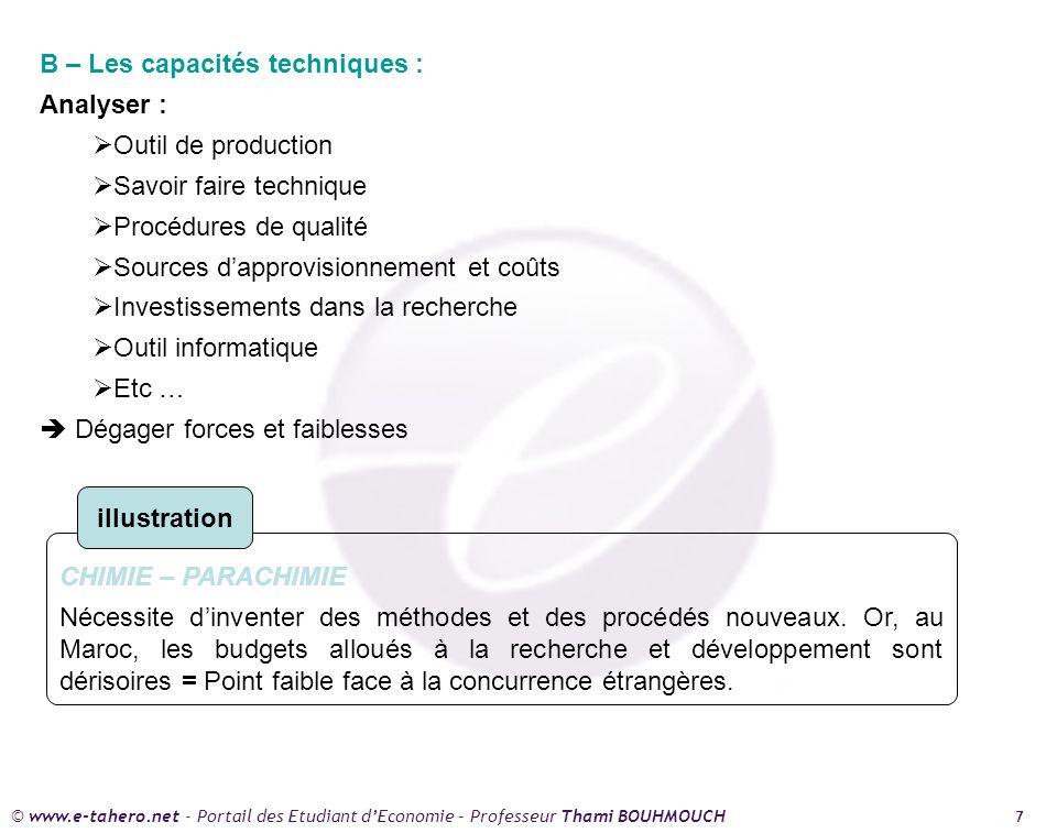 © www.e-tahero.net - Portail des Etudiant dEconomie – Professeur Thami BOUHMOUCH 7 B – Les capacités techniques : Analyser : Outil de production Savoi