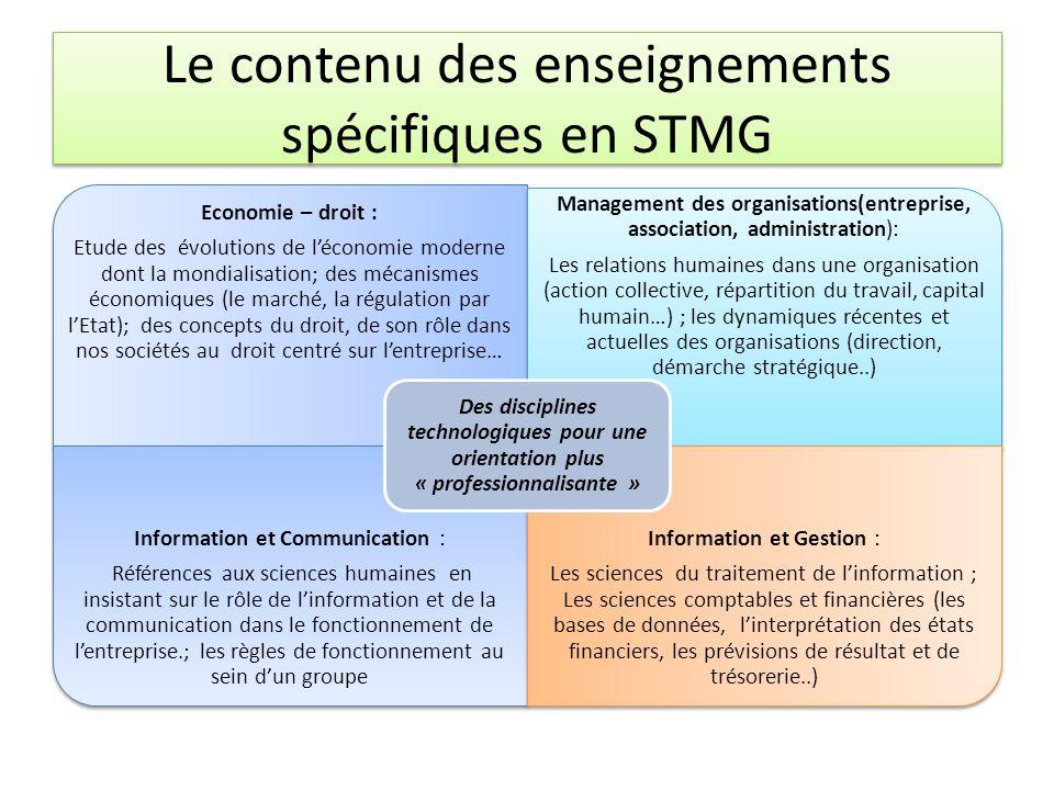 Le contenu des enseignements spécifiques en STMG Economie – droit : Etude des évolutions de léconomie moderne dont la mondialisation; des mécanismes é