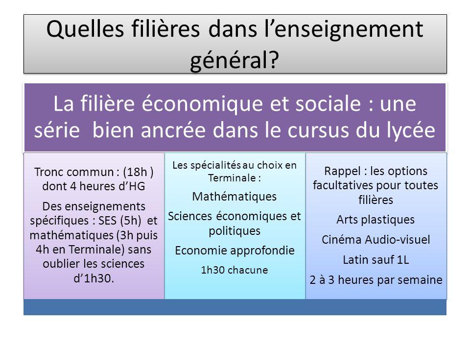 Quelles filières dans lenseignement général? La filière économique et sociale : une série bien ancrée dans le cursus du lycée Tronc commun : (18h ) do