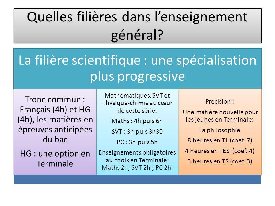 Quelles filières dans lenseignement général? La filière scientifique : une spécialisation plus progressive Tronc commun : Français (4h) et HG (4h), le