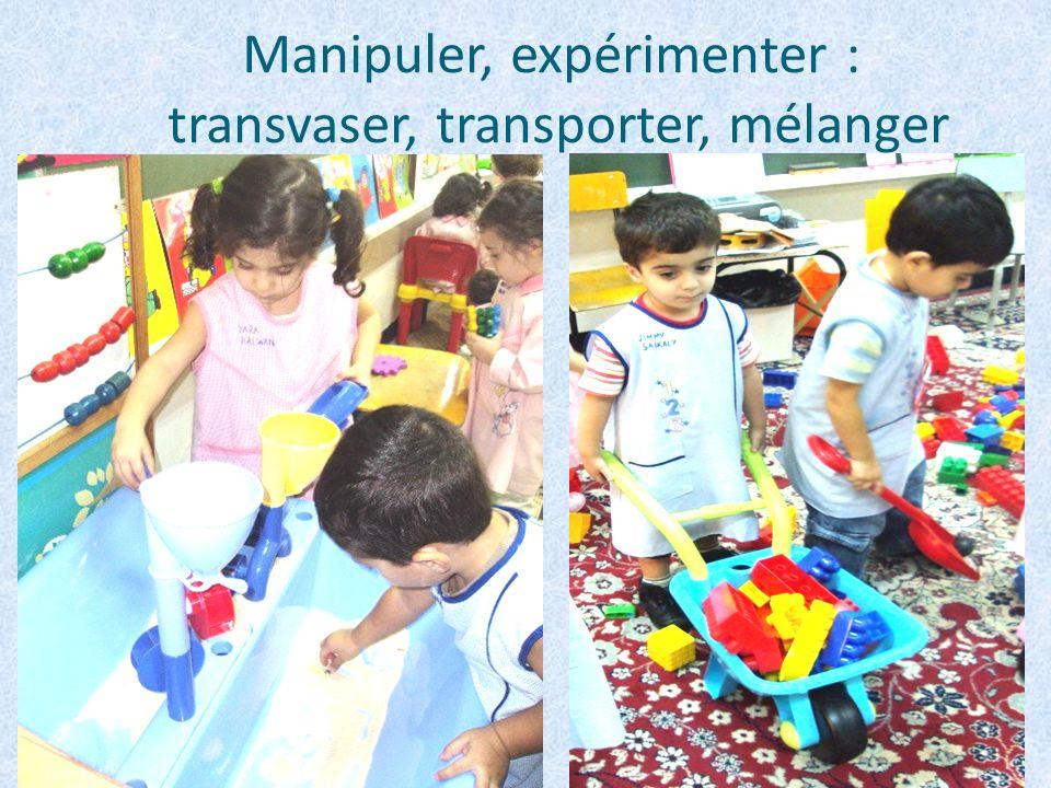 Manipuler, expérimenter : transvaser, transporter, mélanger