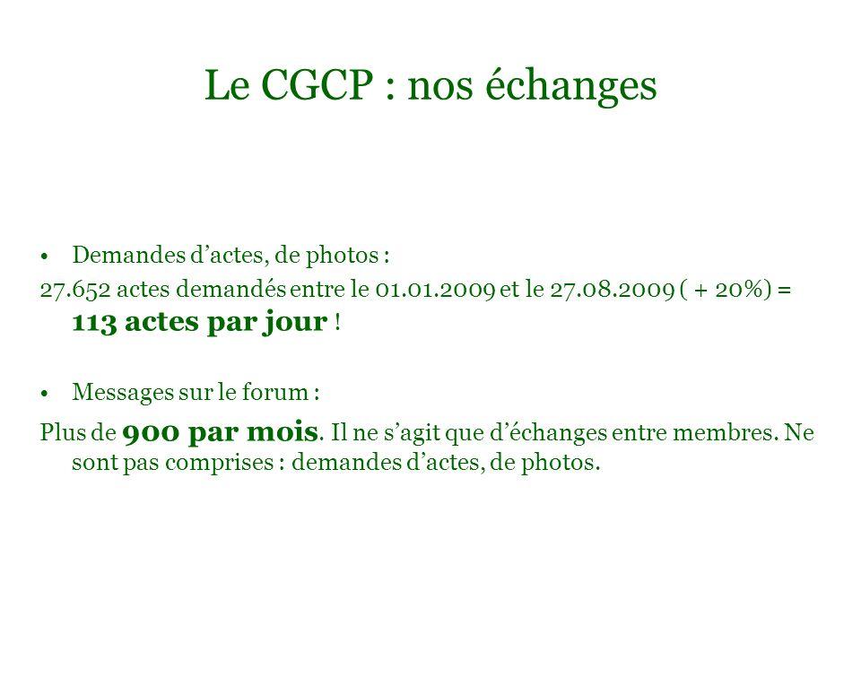 Le CGCP : nos échanges Demandes dactes, de photos : 27.652 actes demandés entre le 01.01.2009 et le 27.08.2009 ( + 20%) = 113 actes par jour ! Message