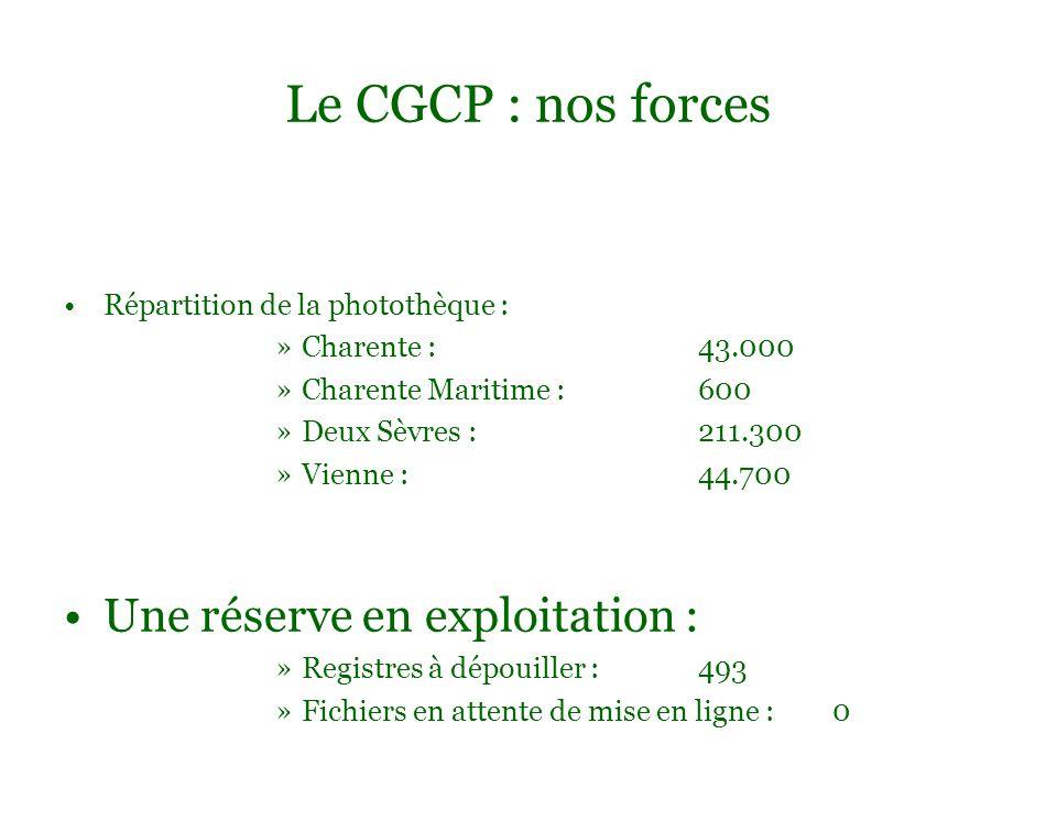 Répartition de la photothèque : »Charente : 43.000 »Charente Maritime : 600 »Deux Sèvres : 211.300 »Vienne : 44.700 Une réserve en exploitation : »Reg