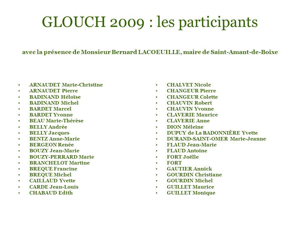 GLOUCH 2009 : les participants avec la présence de Monsieur Bernard LACOEUILLE, maire de Saint-Amant-de-Boixe ARNAUDET Marie-Christine ARNAUDET Pierre