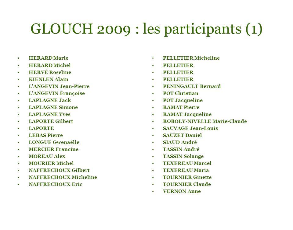 GLOUCH 2009 : les participants (1) HERARD Marie HERARD Michel HERVÉ Roseline KIENLEN Alain LANGEVIN Jean-Pierre LANGEVIN Françoise LAPLAGNE Jack LAPLA