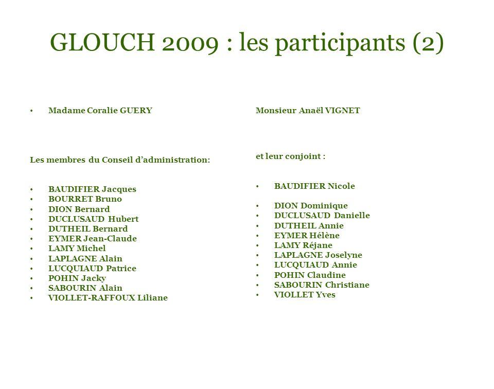 GLOUCH 2009 : les participants (2) Madame Coralie GUERY Les membres du Conseil dadministration: BAUDIFIER Jacques BOURRET Bruno DION Bernard DUCLUSAUD