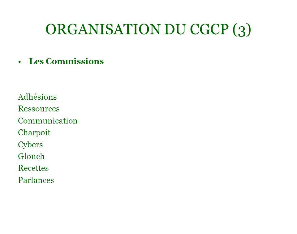 ORGANISATION DU CGCP (3) Les Commissions Adhésions Ressources Communication Charpoit Cybers Glouch Recettes Parlances