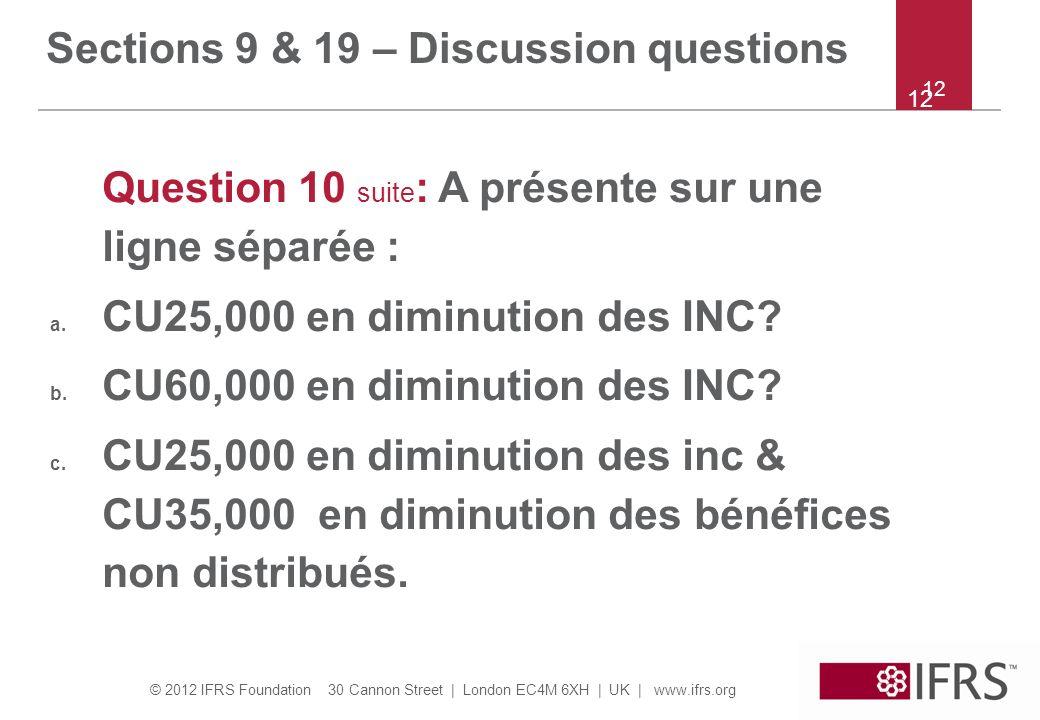 © 2012 IFRS Foundation 30 Cannon Street | London EC4M 6XH | UK | www.ifrs.org 12 Question 10 suite : A présente sur une ligne séparée : a.