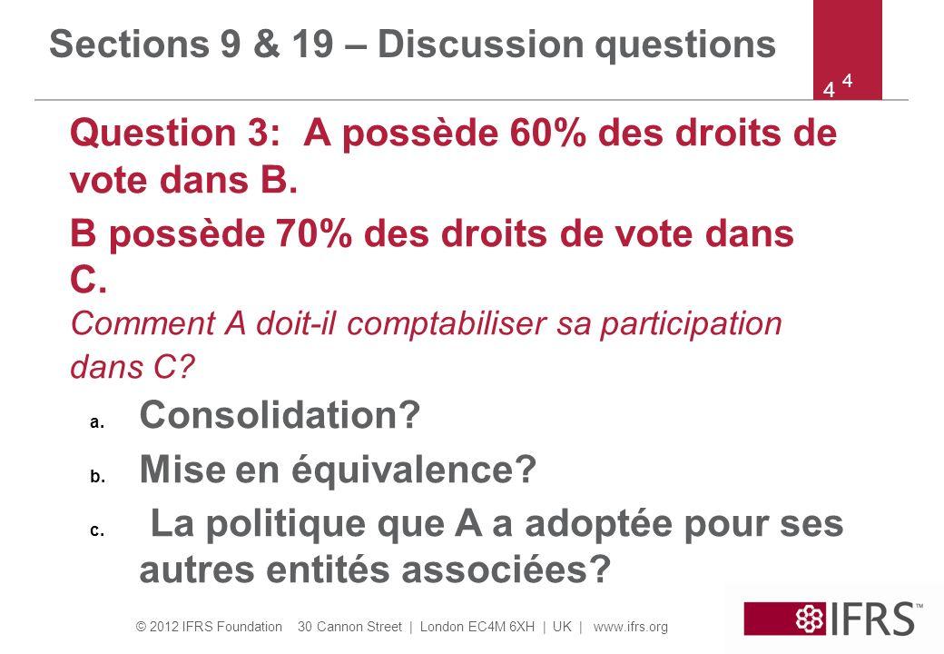 © 2012 IFRS Foundation 30 Cannon Street | London EC4M 6XH | UK | www.ifrs.org 5 5 Sections 9 & 19 – Discussion questions Question 4: A détient 60% et 30% des droits de vote dans B et C respectivement.