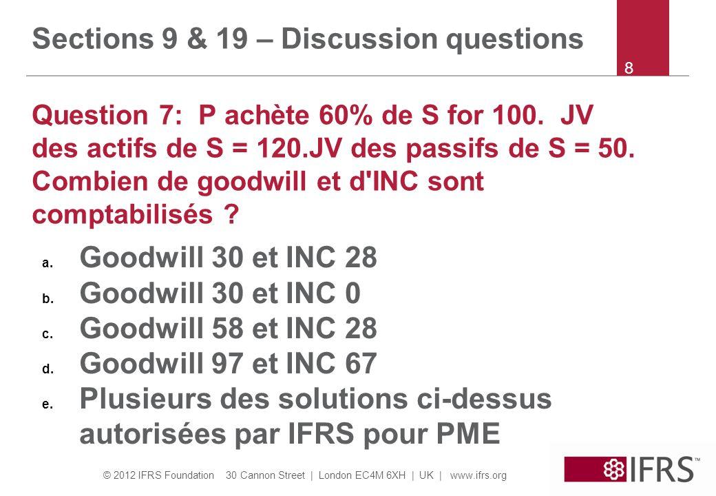 © 2012 IFRS Foundation 30 Cannon Street | London EC4M 6XH | UK | www.ifrs.org 9 Sections 9 & 19 – Discussion questions Question 8: P achète 100% de S de Mr X.