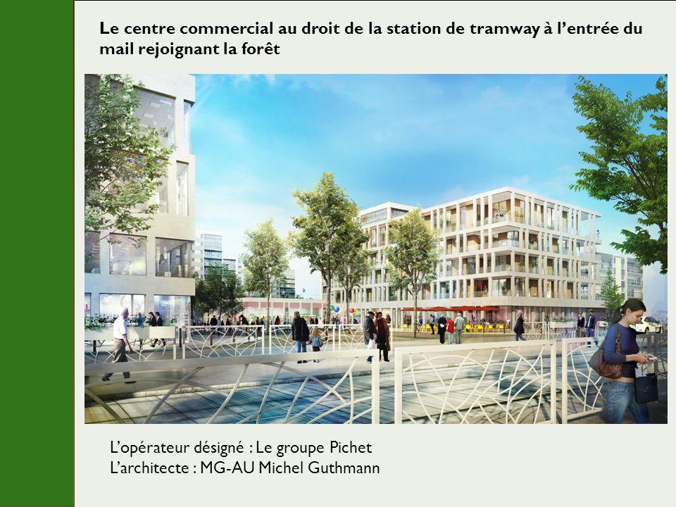 Le centre commercial au droit de la station de tramway à lentrée du mail rejoignant la forêt Lopérateur désigné : Le groupe Pichet Larchitecte : MG-AU Michel Guthmann