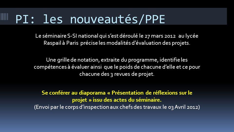 PI: les nouveautés/PPE Le séminaire S-SI national qui sest déroulé le 27 mars 2012 au lycée Raspail à Paris précise les modalités dévaluation des proj