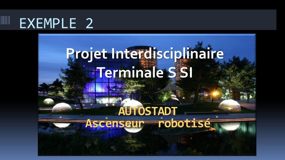 EXEMPLE 2 Projet Interdisciplinaire Terminale S SI AUTOSTADT Ascenseur robotisé
