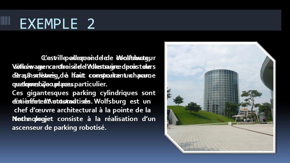 EXEMPLE 2 La ville allemande de Wolfsburg, située au centre de lAllemagne près de Braunschweig, à fait construire un parc automobile un peu particulie