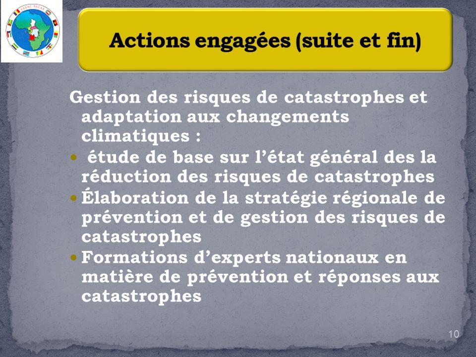 Gestion des risques de catastrophes et adaptation aux changements climatiques : étude de base sur létat général des la réduction des risques de catast
