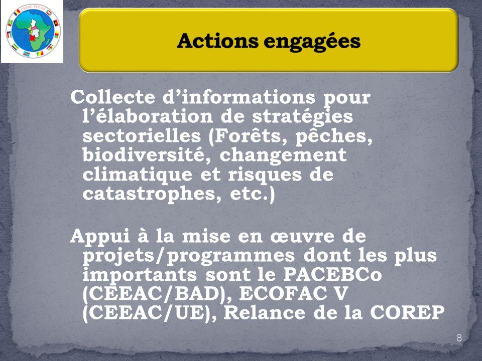 Collecte dinformations pour lélaboration de stratégies sectorielles (Forêts, pêches, biodiversité, changement climatique et risques de catastrophes, e
