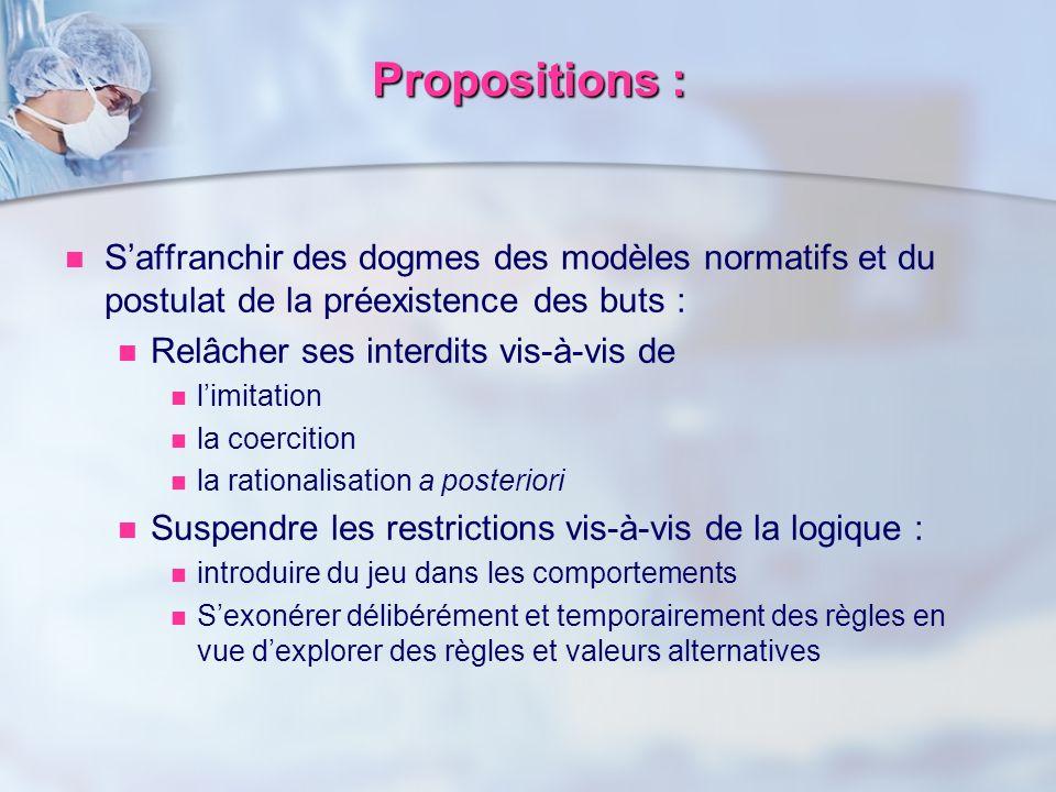 Saffranchir des dogmes des modèles normatifs et du postulat de la préexistence des buts : Relâcher ses interdits vis-à-vis de limitation la coercition