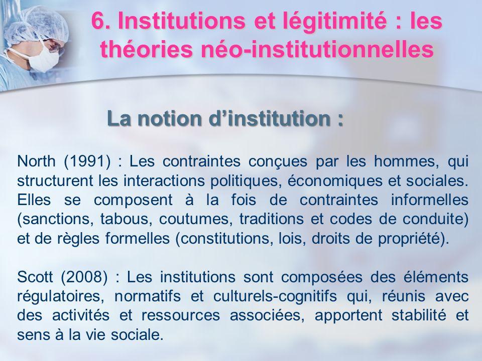 6. Institutions et légitimité : les théories néo-institutionnelles North (1991) : Les contraintes conçues par les hommes, qui structurent les interact