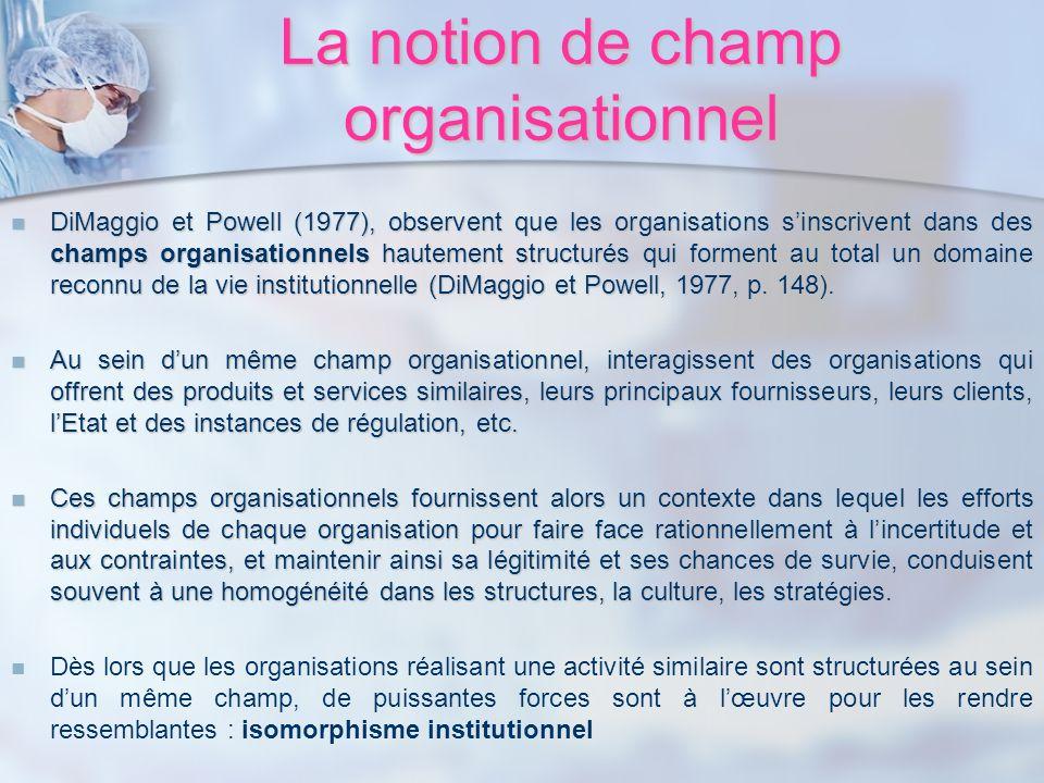 La notion de champ organisationnel DiMaggio et Powell (1977), observent que les organisations sinscrivent dans des champs organisationnels hautement s
